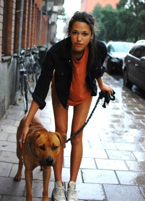 hot chick and her dog